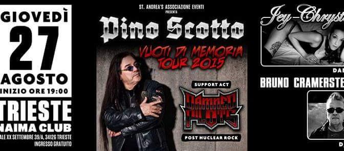Pino Scotto torna live a Trieste giovedì 27 agosto con i Damned Pilots