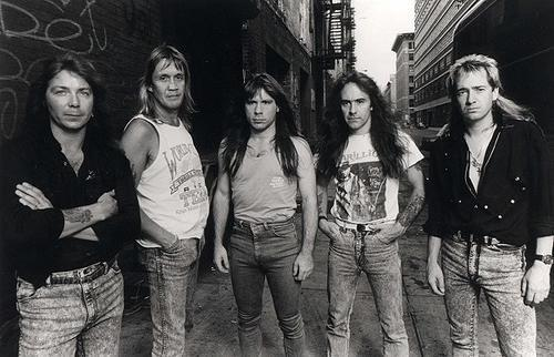 Seventh son of a Seventh Son,line up 1988 left to right are: Dave Murray, Nicko McBrain, Bruce Dickinson, Steve Harris, Adrian Smith.