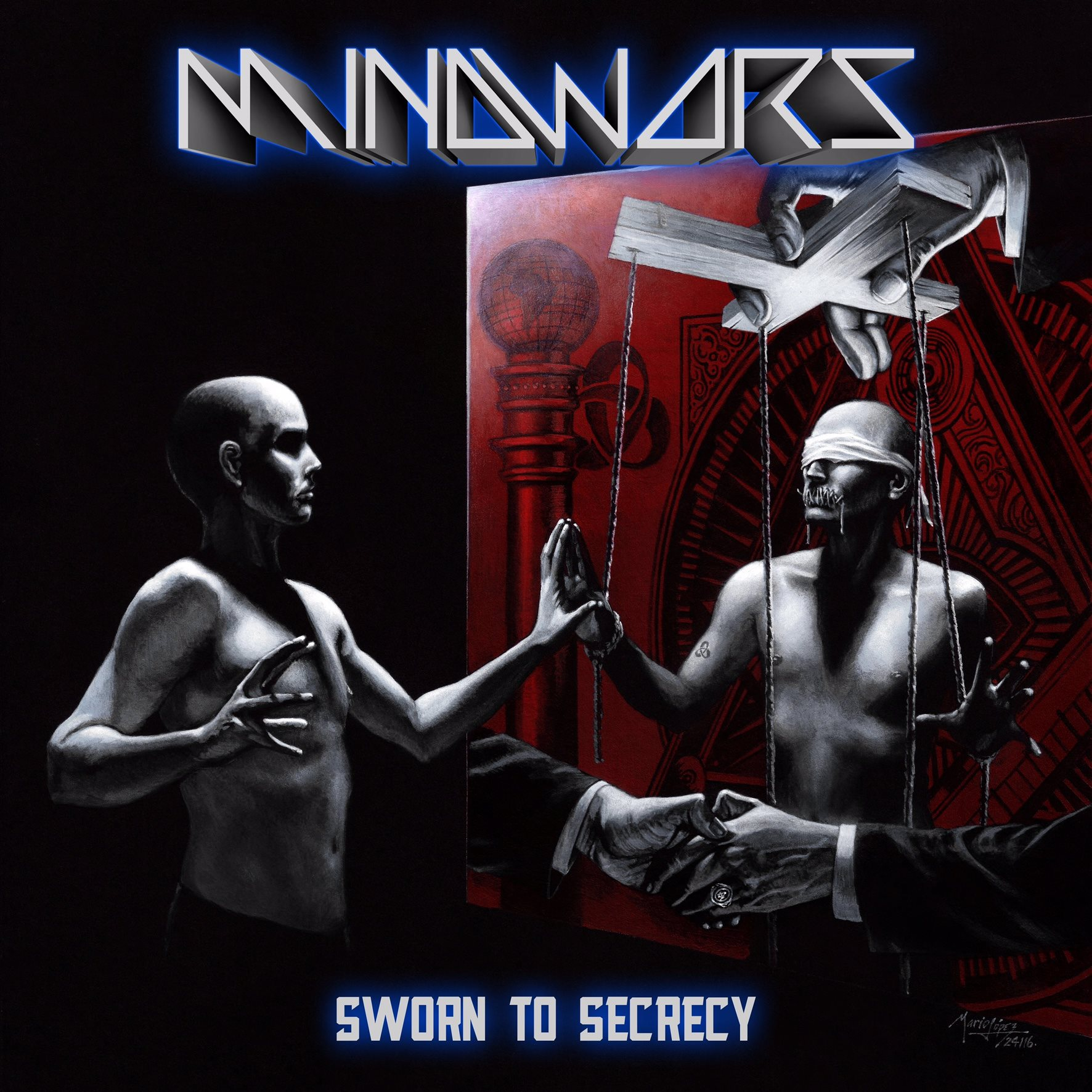 Mindwars, 'Sworn To Secrecy', Punishment 18 Records (2016), artwork by Mario Lopez